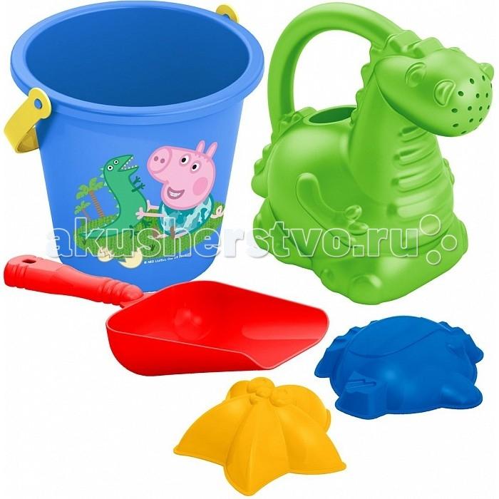 Peppa Pig Набор песочный №3 в сеткеНабор песочный №3 в сеткеPeppa Pig Набор песочный №3 в сетке 30695   Отправляясь на прогулку или на пляж со своим малышом, не забудьте взять с собой песочный набор «Peppa Pig». Он поможет крохе создать из песка множество рыбок и морских звезд, построить песочные замки. Играть с любимыми персонажами мультфильма и удивительной леечкой в виде динозаврика так увлекательно! Игра с этим набором способствует развитию мелкой моторики, общей координации движений и, конечно же, воображения!  В составе песочного набора «Peppa Pig» 5 предметов: ведерко объемом 0,9 л с изображением Пеппы и ее брата Джорджа, лейка в виде динозавра высотой 13,5 см, совочек длиной 16,5 см, 2 формочки (морская звезда, рыбка). Игрушки выполнены из высококачественного безопасного пластика. Товар сертифицирован. Упаковка - сетка с этикеткой.<br>