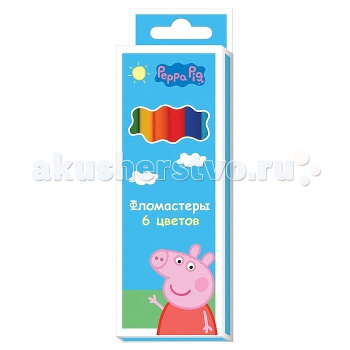Фломастеры Peppa Pig Свинка Пеппа 6 цветовСвинка Пеппа 6 цветовPeppa Pig Фломастеры Свинка Пеппа 6 цветов 29016   Фломастеры ТМ «Свинка Пеппа», идеально подходящие для рисования и раскрашивания, помогут вашему ребенку создать яркие картинки, а упаковка с любимыми героями будет долгое время радовать малыша. В набор входит 6 разноцветных фломастеров с вентилируемыми колпачками, безопасными для детей. Диаметр корпуса: 0,8 см; длина: 13,5 см. Фломастеры изготовлены из материала, обеспечивающего прочность корпуса и препятствующего испарению чернил, благодаря этому они имеют гарантированно долгий срок службы: корпус не ломается, даже если согнуть фломастер пополам. Срок годности: 2 года.<br>