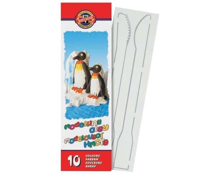 Koh-i-Noor Пластилин детский в картонной упаковке с инструментом 10 цветов 200 г
