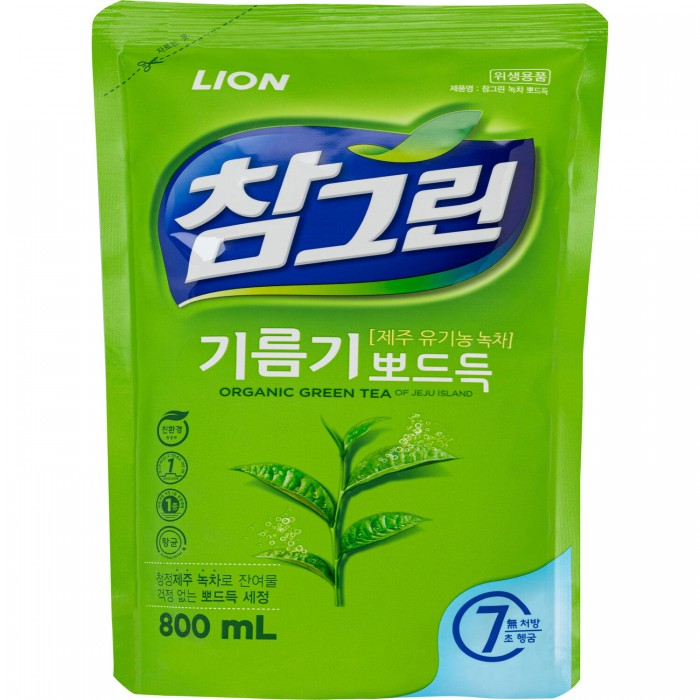 CJ Lion Средство для мытья посуды Chamgreen С ароматом зеленого чая мягкая упаковка 800 мл