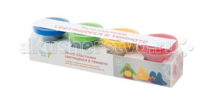Genio Kids Тесто-Пластилин Светящееся в темнотеТесто-Пластилин Светящееся в темнотеGenio kids Тесто-Пластилин Светящееся в темноте то натуральный и совершенно безвредный материал, созданный из пшеничной муки. Оно легко смывается и не оставляет после себя грязи. Данное тесто-пластилин светится в темноте.   Комплектность набора: 4 баночки с тесто-пластилином по 50 г.<br>