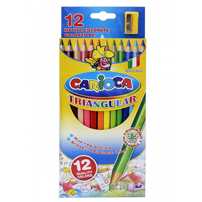 Carioca Набор карандашей TRIANGULAR 12 цветов + точилка