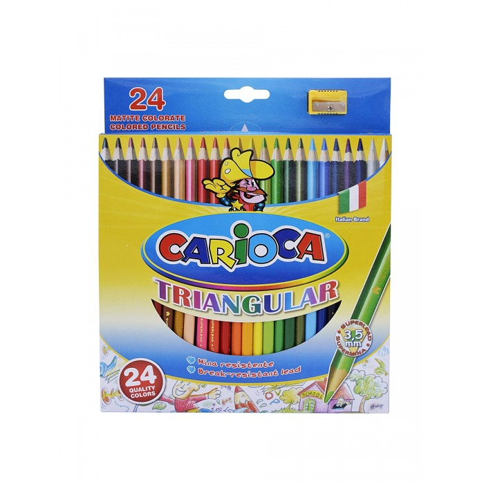 Carioca Набор карандашей TRIANGULAR 24 цвета + точилка