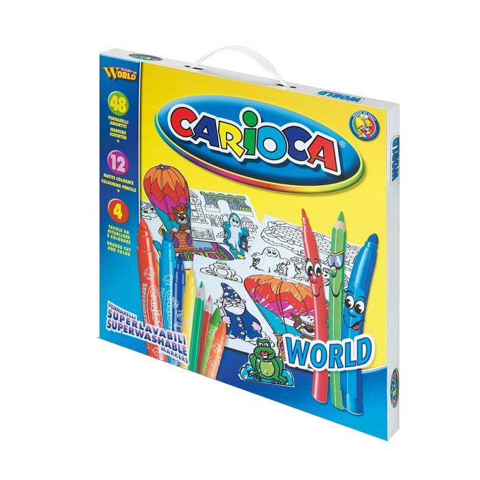 Carioca Набор для рисования WORLD 64 предметаНабор для рисования WORLD 64 предметаНабор для рисования WORLD 64 предмета - прекрасный набор для творчества, который обязательно понравится юным художникам. Набор может стать отличным подарком на детский праздник.  В наборе:  48 смываемых фломастеров 12 цветных карандашей 4 трафарета для раскрашивания<br>
