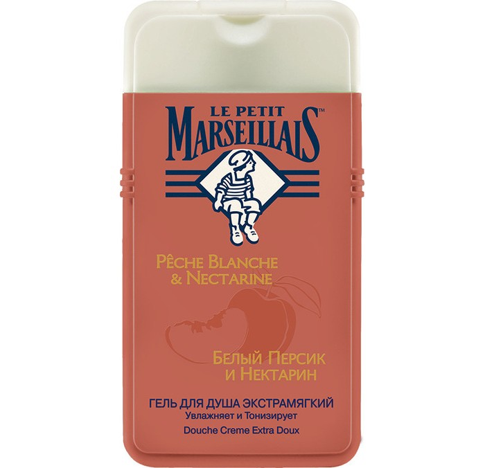Le Petit Marseillais Гель для душа Белый персик и Нектарин 250 млГель для душа Белый персик и Нектарин 250 млГель для душа Белый персик и Нектарин мягко очищает и увлажняет кожу.  Богатый витаминами белый персик, входящий в состав геля, известен своим смягчающим действием, а нектарин оказывает тонизирующее воздействие на кожу.   Воздушный и легко смывающийся гель образует мягкую, душистую пену с насыщенным солнечным ароматом.  Этот универсальный, наполненный сочными фруктовыми нотами гель подойдет для всей семьи.<br>