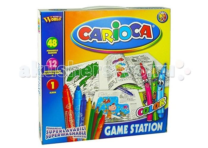 Carioca Набор для рисования GAME STATION 61 предметНабор для рисования GAME STATION 61 предметНабор для рисования GAME STATION 61 предмет - прекрасный набор для творчества, который обязательно понравится юным художникам. Набор может стать отличным подарком на детский праздник.  В наборе:  альбом для раскрашивания 48 смываемых фломастеров 12 цветных карандашей<br>