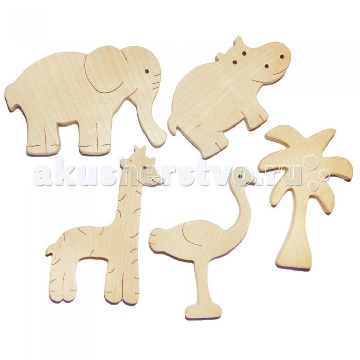 Деревянная игрушка Деревяшкино Набор АфрикаНабор АфрикаНабор Африка (страус, пальма, жираф, слон, бегемот)  Тематическая игрушка для детского творчества (средней степени сложности) подходит для мальчиков и девочек в возрасте оn 3 лет.  Милые тематические фигурки понравятся любому малышу, который сможет создать настоящую коллекцию самых различных животных, транспорта и многого другого.   Подходит для совместной игры группы детей или со взрослыми.   Отличная возможность организовать у себя дома маленький театр!  Игрушка способствует развитию творческого мышления, навыков общения и коллективного творчества. Развивает зрительное и слуховое внимание, наблюдательность, воображение. Учит играть в команде.  Экологически чистый продукт: изготовлено вручную из массива березы. Не окрашенная.   В продаже представлена в ассортименте.<br>