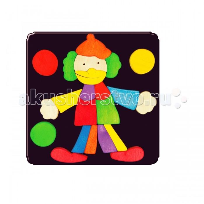 Деревянная игрушка Деревяшкино Клоун 2 МДКлоун 2 МДКлоун 2 МД  Красочная игрушка-головоломка из натурального дерева на магнитной доске.   Незаменима в машине, поездке – в любом месте, где Вашему малышу удобно играть. Удивительный мир ярких красок и фантазий везде с Вами!  Каждая деталька мозаики крепко держится на магнитной доске.   Ваш юный фантазер сможет не только решить сложную задачу: собрать головоломку как на картинке, но и, используя фантазию, сможет создать уникальные и неповторимые композиции.   Объединяйте несколько наборов – будет интереснее!   Все детали выполнены из натурального дерева, окрашены безопасной пищевой краской. Деревянные игрушки дают возможность ощутить структуру, плотность, вес, запах материала. Ребенок получает правдивую информацию об окружающем мире.   Развивает: мелкую моторику, абстрактное и логическое мышление, понимание цветов, геометрических форм.  Методические рекомендации: объясните малышу почему детальки держатся на доске. Объясните как правильно собрать мозаику, но не помогайте в трудных местах. Попросите ребенка собрать элементы в порядке увеличения размера, по цветам радуги, по форме. Покажите на примере, что из набора деталей можно собрать не только изображение на образце, но и много других интересных сюжетов.<br>