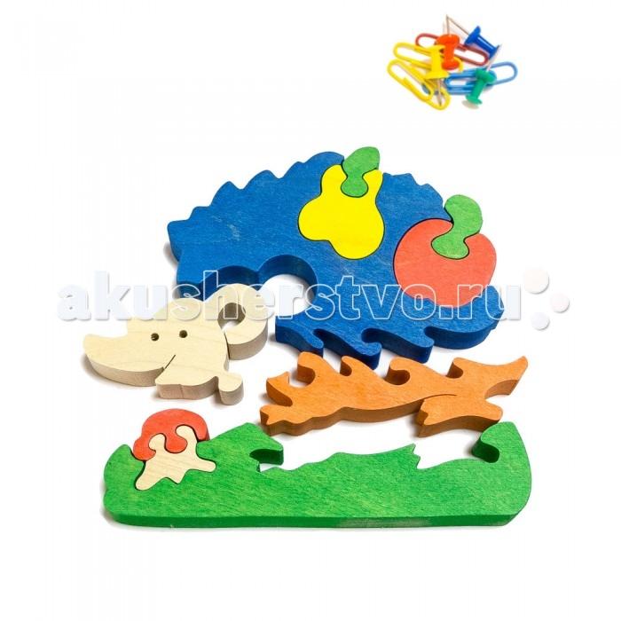 Деревянная игрушка Деревяшкино Ежик с грушей в коробкеЕжик с грушей в коробкеРазвивающая деревянная головоломка Ёжик с грушей (средней степени сложности) подходит для мальчиков и девочек в возрасте 3-5 лет, состоит из 10 деталей. Экологически чистый продукт: изготовлено вручную из массива березы.   Игрушка раскрашена пищевой водостойкой краской, что делает взаимодействие с изделием абсолютно безопасным: никаких лаков, «химии» или добавок.  Процесс сборки деревянной головоломки развивает: тактильную сенсорику, внимательность, усидчивость, пространственное мышление, мелкую моторику, а так же учит различать элементы по цвету, форме и размеру.   С продукцией компании Деревяшкино, Ваши детки развиваются, играя без риска для здоровья.<br>