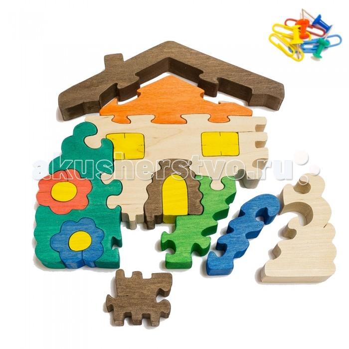 Деревянная игрушка Деревяшкино Домик с цветами в коробке
