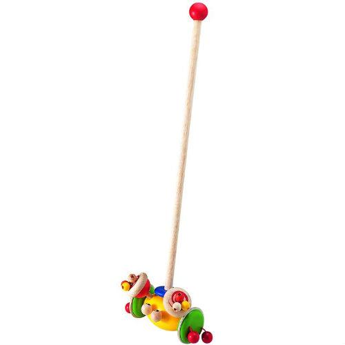 Каталка-игрушка Wonderworld Каталка КрабКаталка КрабКаталка на палке Краб  - игрушка с множеством подвижных забавных деталек. При движении Крабик покачивается из стороны в сторону. Длина палки 55 см.  Игрушка сделана из каучукового дерева с использованием нетоксичных красок и специально изготовлена с закругленными краями.  Размеры: 17 х 10 х 55 см<br>