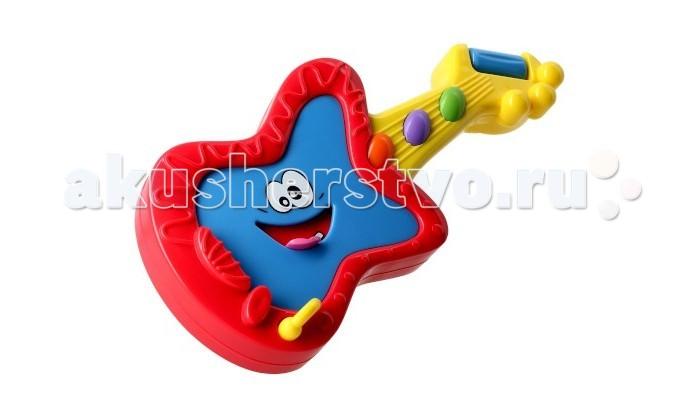 Музыкальная игрушка 1 Toy Мини гитараМини гитараМини гитара, на которой можно не только играть, но и послушать, как она поет. Нужно лишь нажать на язычок, торчащий из ротика, и ты услышишь забавные трели. 3 мелодии.  Размер: 28 x 16 x 60 см<br>