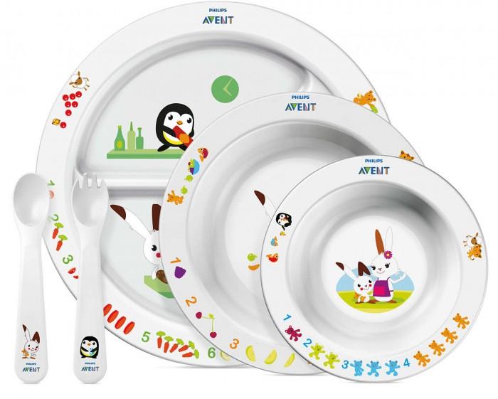 Philips-Avent Набор для кормления малышей от 6 мес.Набор для кормления малышей от 6 мес.Набор для кормления малышей от 6 мес. Philips-Avent SCF716/00 идеально подходит для того, чтобы обучить малыша принимать пищу самостоятельно. Он очень удобен в использовании, так как посуда имеет нескользящее основание, широкие края, что предотвращает от пролива, а наличие в порционной тарелке разделителей не дает смешиваться пищи.   В создании участвовали психолог и диетолог, поэтому посуда получилась развивающая и привлекательная для малыша. Безопасна для ребенка, так как изготовлена без бисфенола-А. Можно использовать в микроволновой печи и мыть в посудомоечной машине.    Комплектация:    Тарелка с разделителями для блюд Большая тарелка Маленькая тарелка Вилка для малыша Ложка для малыша.    Размер маленькой тарелки: 40 (Г) X 140 (В) X 140 (Ш) Размер большой тарелки: 43 (Г) X 175 (Г) X 175 (Г) мм Размер порционной тарелки: 22 (Г) X 226 (Ш) X 226 (В) мм Материал: полипропилен (без бисфенола-А)<br>