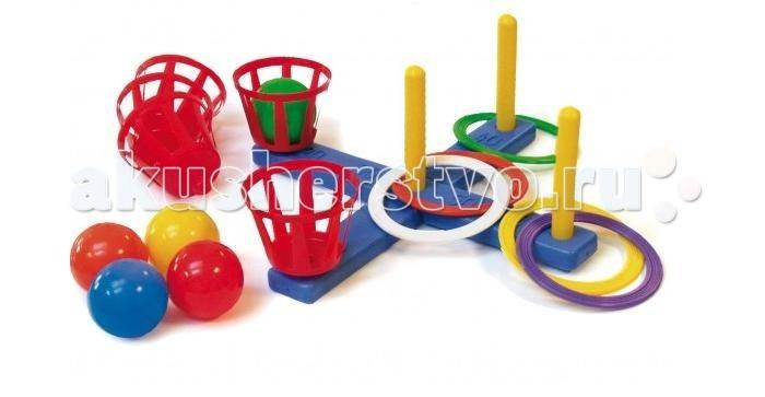 Mej-pol Кольцеброс с корзинами и мячамиКольцеброс с корзинами и мячамиКольцеброс с корзинами и мячами  Спортивная игра. Цель играющих - набросить кольца с установленного расстояния на один из четырех вертикальных стержней, так чтобы кольца оказались надетыми на стержень, или же попасть мячом в корзину (корзины и стержни съемные).   Прекрасно развивает координацию движений. Стимулирует двигательную активность. Комплектность: кольцеброс, 5 колец, 4 корзины, 4 шарика.<br>