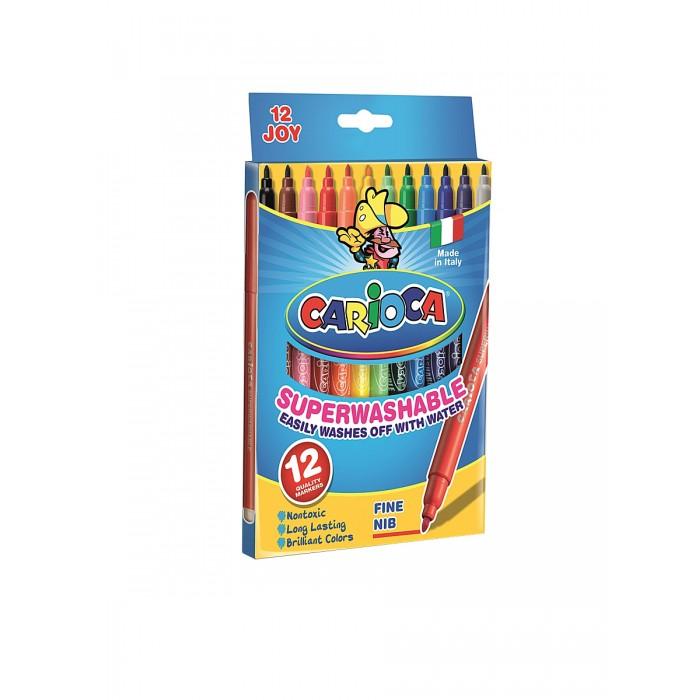 Фломастеры Carioca JOY 12 цветов в картонной коробкеJOY 12 цветов в картонной коробкеНабор фломастеров CARIOCA JOY 12 цветов в картонной коробке обязательно понравятся юным художникам. Фломастеры яркие, стержень не вдавливается. Пишущий узел из нейлона высокого качества диаметром 2 мм.<br>
