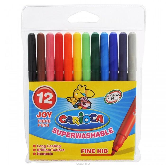 Фломастеры Carioca JOY 12 цветовJOY 12 цветовНабор фломастеров CARIOCA JOY 12 цветов подойдет и для школьных занятий, и просто для рисования. Фломастеры имеют насыщенные цвета. Чернила на водной основе легко смываются с кожи и отстирываются с большинства тканей.<br>