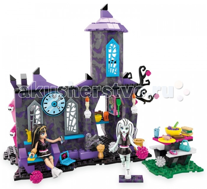 Конструктор Mega Bloks Mattel Monster High: Столовая монстров (280 деталей)Mattel Monster High: Столовая монстров (280 деталей)Блочный конструктор Столовая монстров из серии игрушек Monster High, изготовленный популярным производителем Mega Bloks, позволяет собрать сказочное сооружение, где могут подкрепиться симпатичные девочки-монстры.   Набор представлен множеством деталей для сборки здания кафе, деталями-аксессуарами и двумя фигурками модных девочек-монстров. Дизайн здания: его цвет и форма, наличие дополнительных черт, таких как сухое цветущее дерево и стилизованные решетки на окнах, создают чудесную атмосферу.   Набор дополнен игровыми аксессуарами: посудой, сумочками, другими предметами, которые можно вставить в руки фигуркам.   В шкафчике, прикрепленном к стене кафе, имеется зеркало. Монстры-девочки одеты в школьную форму, на ногах у них модная обувь на высокой платформе. Осанка и выражение лица не дадут спутать этих девочек с другими персонажами.   У фигурок сгибаются ножки в коленных суставах, что позволяет им принимать различные положения.   Собирая конструктор и моделируя жизнь монстров, ни одна девочка не заскучает!   Количество деталей: 280 шт.<br>