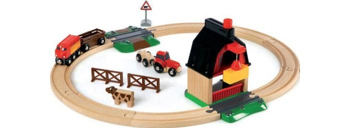 Деревянные игрушки Brio Ж/д с мини-фермой и кормушкой