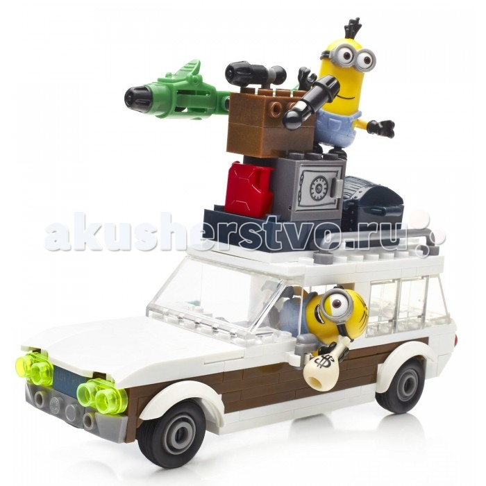 Конструктор Mega Bloks Mattel Гадкий Я: Автомобиль миньонов (188 деталей)Mattel Гадкий Я: Автомобиль миньонов (188 деталей)Конструктор Автомобиль миньонов из серии Гадкий я от Mega Bloks - это оригинальный набор для сборки транспортного средства, состоящего из 188 деталей. В набор также входят 2 фигурки мультяшных персонажей - Кевин и Стюарт.  Если эти два героя садятся за руль машины, то от этого можно ждать только неприятности, впереди точно будут ждать захватывающие приключения.  Прежде чем начать игру, следует собрать злодейский автомобиль. Миньонов можно сажать в кабину, если открыть крышу. Машина оснащена бластером и сейфом с сокровищами. Элементы фигурок съемные и заменяемые, от этого игра будет еще интереснее. Колеса фургона подвижные.  Данный набор совместим с другими наборами от Mega Bloks, приобретаемыми отдельно.  Количество деталей: 188 шт.<br>