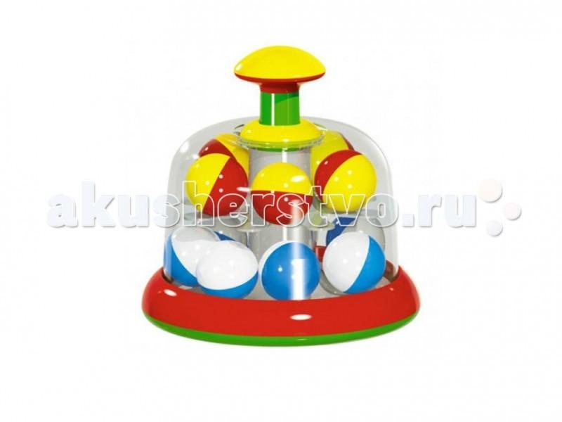 Развивающая игрушка Стеллар Юла карусель с шарикамиЮла карусель с шарикамиЮла карусель с шариками Stellar располагается на пластмассовой платформе. Стоит привести ее в движение, как шарики, находящиеся внутри, начинают резво бегать по кругу, издавая веселый шум. Развивает координацию, слух и зрительное восприятие. У юлы, вместо традиционной длинной витой ручки - кнопочка.  Характеристики: Размер упаковки: 17 x 17 x 22 см Материал: пластмасса Размеры: высота - 18, диаметр - 17<br>