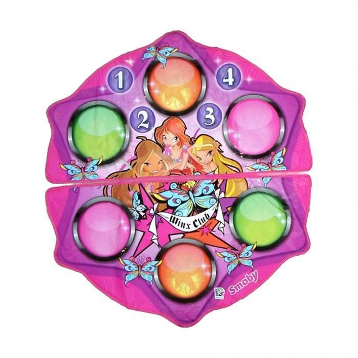 Игровой коврик Smoby Winx со звукомWinx со звукомТанцевальный коврик Winx от Smoby.  В комплекте - два игровых танцевальных коврика, соединенные друг с другом липучкой и управляющий модуль, подсоединяемый к коврикам с помощью проводов.  Особенность данного коврика в том, что Smoby предусмотрены два варианта игры:  - аранжировка: ребенок, нажимая кнопки, добавляет свои звуки в звучащую мелодию  - танцевальный режим: во время проигрывания музыки на управляющем модуле загораются лампочки. Ребенок следит за цветом загорающихся лампочек и наступает на круги соответствующего цвета на коврике Winx. Когда танец закончится, танец ребенка будет оценен - звучат аплодисменты.  Танцевальный коврик Winx можно подсоединить к внешней аудиосистеме (переходник в комплект не входит, но практически в каждом доме найдется из комплекта к телевизору или аудио-, видео- системе).  Развитие навыков. Коврик развивает двигательную активность, ловкость движений, способствует развитию глазомера. Он способствует формированию у ребенка чувства ритма и улучшению координации движения.  Особенности: Предназначен для игры одного или двух участников. 4 мелодии. 11 звуковых эффектов. 2 режима игры. Есть гнездо для подключения к внешней стерео-, аудиосистеме. Дополнительно: Возраст: от 3 лет. Материал: полимер. Батарейки: 4 шт. типа AA/LR6 (в комплект не входят). Диаметр коврика: 104 см. Размер блока: 20х20х5 см. Размер упаковки: 35х7х47 см. Упаковка: цветная картонная коробка. В комплекте: 2 коврика и управляющий модуль.<br>