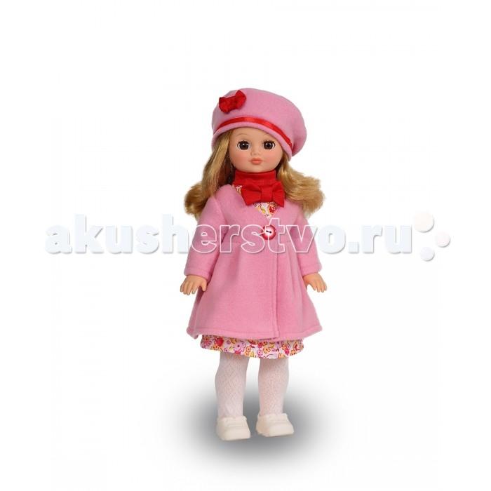 Весна Кукла Лиза 20 со звуковым устройством 42 смКукла Лиза 20 со звуковым устройством 42 смКукла Лиза 20 со звуковым устройством 42 см из серии «Моя любимая кукла» может стать настоящей подружкой для ребёнка. В комплект одежды для куклы входит: платье из хлопка, пальто и берет из флиса, вязаные гольфы. Комплект дополняют туфли. Производитель оставляет за собой право изменения цветовой гаммы одежды и волос куклы, цвет глаз может варьироваться.   Игровые и дидактические возможности куклы: кукла Лиза Весна 20 может быть так называемой «методической куклой» для обучения детей различию между сезонами года: многослойная одежда, которую удобно снимать и надевать, помогает изучить необходимость того или иного предмета одежды в определённое время года.   При нажатии на звуковое устройство, вставленное в спинку, кукла произносит фразы. Наличие элементов одежды, которые легко снимаются и надеваются, аксессуара-сумочки из шёлка с аппликацией «Зайчик» разнообразит возможности сюжетно-ролевых игр с этой куклой, в процессе которых развивается мелкая моторика и творческое воображение ребёнка.   Прекрасные прошитые волосы из качественного нейлона, похожие на натуральные, можно завивать, расчёсывать, укладывать в разные причёски, меняя образ куклы.   Рост куклы 42 см. Кукла Лиза Весна 20 озвучена. Глаза вставные закрывающиеся. Тело куклы пропорционально. Ручки и голова выполнены из эластичного, приятного на ощупь винила, а туловище и ноги из пластмассы.   Дополнительно к кукле можно приобрести комплект одежды.  Кукла произносит следующие фразы:  -Теперь ты моя подруга. -Ты не забыла - сегодня мы идем на праздник. -Нам нужно быть красивыми. -Сделай мне прическу! -Получилось очень красиво! -Теперь себе. -Не забудь про маникюр. -А нарядное платье? -Мы сегодня самые красивые!<br>