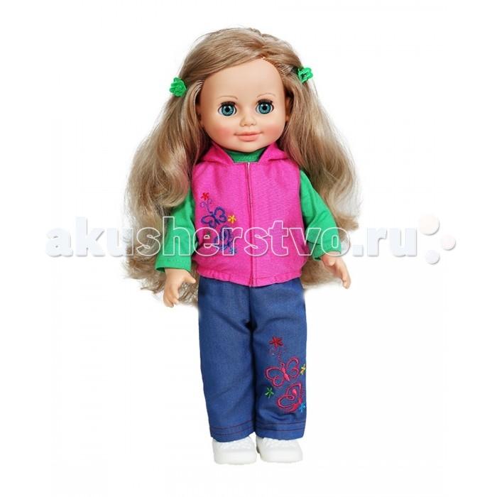 Весна Кукла Анна 6 со звуковым устройством 42 смКукла Анна 6 со звуковым устройством 42 смКукла Анна 6 со звуковым устройством 42 см  Это очаровательная кукла - девочка с открытым взглядом, пушистыми ресницами, обаятельной улыбкой и роскошными волосами. В комплект весенне-осенней коллекции одежды куклы входит: трикотажная блузка с длинными рукавами, воротником-стойкой, застёжкой сзади; джинсовые брюки, с вышивкой, жилет из ворсового трикотажа с капюшоном, трикотажные носочки. На ножках модные туфли-балетки.Производитель оставляет за собой право изменения цветовой гаммы одежды и волос куклы, цвет глаз может варьироваться.   Игровые возможности куклы: прекрасные длинные волосы, похожие на натуральные, можно завивать, расчёсывать и укладывать в разные причёски, меняя образ куклы. При нажатии на звуковое устройство она произносит фразы, побуждающие к действию. Она умеет закрывать глазки, её можно укладывать спать. Продуманная конструкция позволяет легко сажать, ставить на ножки, переодевать. Дополнительно к кукле можно приобрести комплект одежды. Также к ней подходит одежда куклы Инна Весна.   Технические характеристики: кукла полностью выполнена из современного материала винила. Длина волос – 24 см. Глаза вставные закрывающиеся. Высота 42 см. Кукла озвучена, говорит следующие фразы:   - Мама, мы гуляли и испачкались… - Давай умоемся! Налей воду. А где наша пена?  - Сколько пузырьков! Они лопаются.  - Дай мыло.  - Сначала вымой мне лицо и ручки.  - Спасибо. А теперь ножки… - А где полотенце? - Давай пускать мыльные пузыри- Здорово! - Давай ещё!<br>