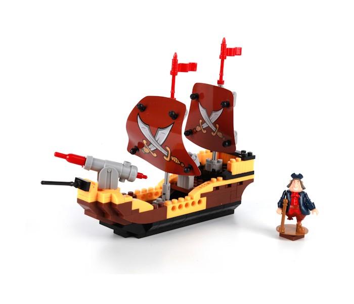 Конструктор Город мастеров Остров сокровищ (160 деталей)Остров сокровищ (160 деталей)С помощью данного конструктора можно собрать пиратский корабль, эдакую двухмачтовую канонерку, вооруженную одной пушкой, стоящей на носу. Пушка может запускать пластиковые снаряды.   На мачтах закреплены паруса с традиционным пиратским гербом - черепом и скрещенными костями. И на судно после сборки можно поместить его капитана - одноногую мини-фигурку, прилагающуюся к комплекту. Как всегда, детали конструктора можно собирать во что угодно, не только в корабль. Пластик прочный, потому корабль можно многократно разбирать и воссоздавать вновь.  Особенности: отлито из высококачественного пластика без неровных краев детали совместимы с другими конструкторами мировых производителей если в сборке возникнут трудности, преодолеть их поможет инструкция  Развивает: пространственное мышление терпение мелкую моторику логику усидчивость воображение игровые навыки<br>