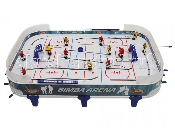Simba Хоккей настольныйХоккей настольныйДетская настольная игра Хоккей от компании Simba — увлекательная игра, мечта каждого ребенка, будет чудесным подарком и для ребенка и для Вас! В игре задействованы 10 хоккеистов и 2 вратаря с металлическими клюшками. На бортиках стола есть табло для ведения счёта. Хоккей настольный изготовлен из металла, фигурки из упрочненного пластика.<br>