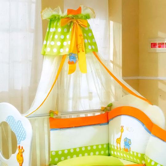 Балдахин для кроватки Pali Gigi &amp; Lele с держателемGigi &amp; Lele с держателемЧудесный балдахин с держателем Gigi and Lele имеет яркую цветовую гамму. Веселые аппликации в виде жирафа и слоника прекрасно гармонируют с дизайном кровати,превращает обыкновенную детскую кроватку в настоящую колыбельку маленького принца или принцессы. Материалы:  Тюль - 100% нейлон  Детали ткани - 100% хлопок  Общие размеры: 500х250 см<br>