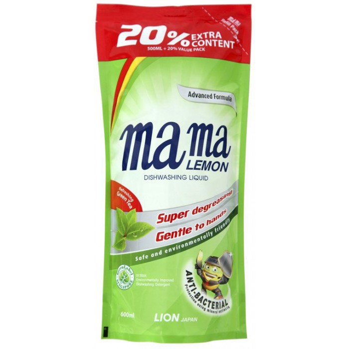 Mama Lemon Концентрированное средство для мытья посуды Зеленый чай запасной блок 0.6 л