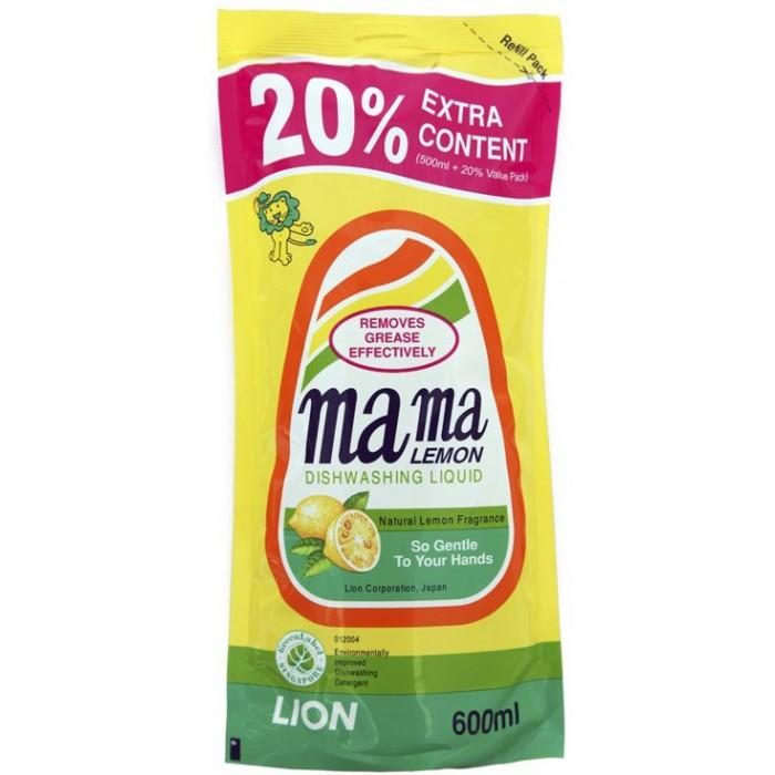 Mama Lemon Концентрированное средство для мытья посуды Лимон запасной блок 0.6 л