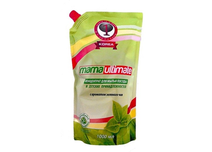 Mama Ultimate Концентрированное средство для мытья посуды Зеленый чай запасной блок с крышкой 1000 мл