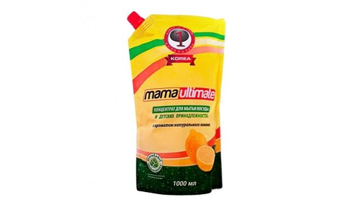 Mama Ultimate Концентрированное средство для мытья посуды Лимон запасной блок с крышкой 1000 мл Концентрированное средство для мытья посуды Лимон запасной блок с крышкой 1000 мл 8809193-049313