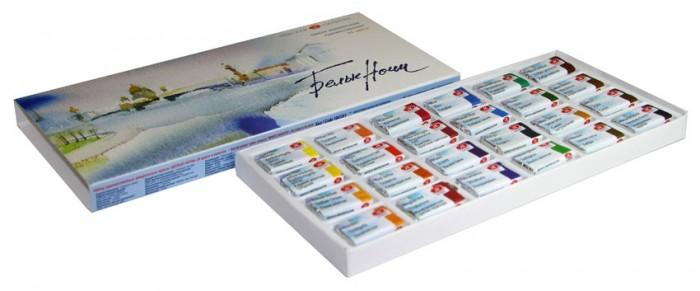 Невская палитра Белые Ночи Акварель картонная упаковка 24 цвета кюветы 2,5 мл