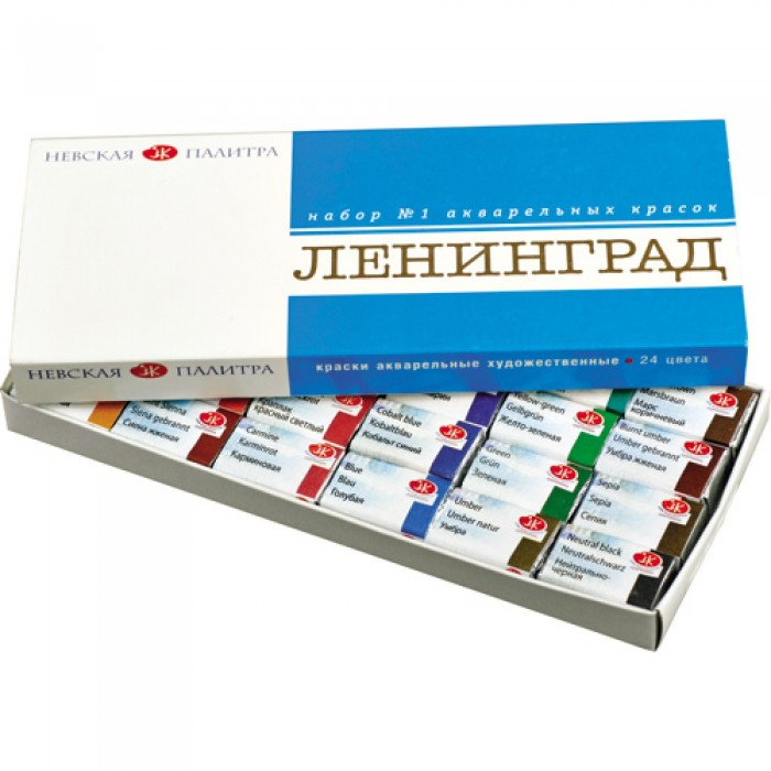 Невская палитра Акварель Ленинград-1 картонная упаковка 24 цвета кюветы 2,5 мл