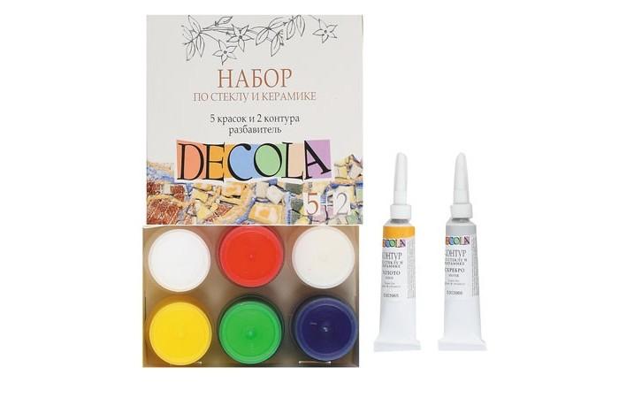 Decola Акрил по стеклу и керамике 5 цветов 20 мл контуры в тубах 2x18 мл разбавитель