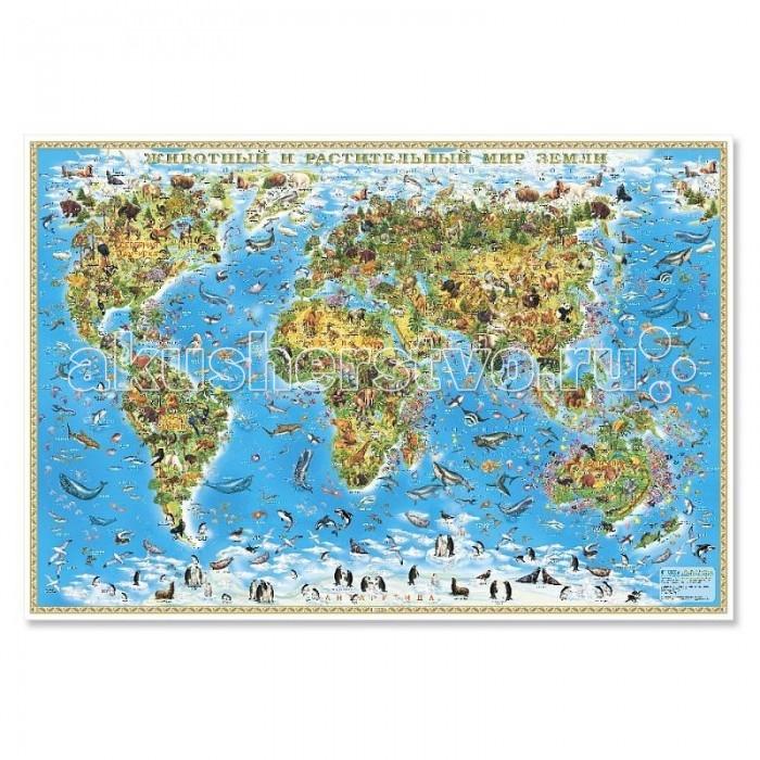 Геодом Карта настенная Мир для детей Животный и растительный мир