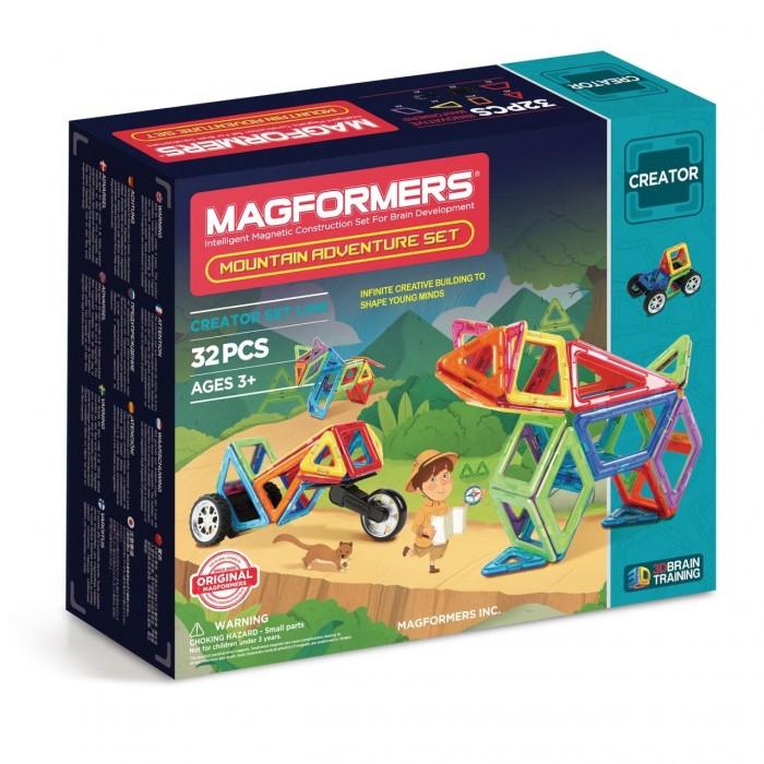 Конструктор Magformers Магнитный Adventure Mountain 32 setМагнитный Adventure Mountain 32 setМагнитный конструктор Magformers Adventure Mountain 32 set - представитель новой серии, посвященной путешествиям. С ним вы отправитесь покорять дикие джунгли.  Для того, чтобы преодолеть топкие болота и непролазные заросли, понадобится специальный транспорт. Детали набора позволяют собрать различные внедорожники и джипы. Особенностью набора являются мощные колеса крупного размера, незаменимые при путешествии по труднопроходимым территориям. Колеса крепятся особым образом: они вставляются в специальный паз, что придает им дополнительную прочность и возможность покорить самые крутые барханы. В набор также входит распределительный модуль, к которому крепятся колеса. Благодаря нему ваш специализированный транспорт сможет передвигаться самостоятельно!  Помимо техники, из деталей набора можно собрать различных животных, обитающих в джунглях: ягуара, анаконду, какаду и других.  К конструктору прилагается красочная Книга идей с подробными схемами сборки транспорта и зверей. Набор Magformers Jungle Adventure станет прекрасным дополнением к уже имеющейся коллекции Магформерс.   В наборе 32 элемента: - треугольник: 4 шт. - равнобедренный треугольник: 4 шт. - квадрат: 8 шт. - прямоугольник: 2 шт. - ромб: 2 шт. - трапеция: 2 шт. - сектор: 4 шт. - арка: 2 шт. - клик-колес: 1 шт. - новое большое колесо: 2 шт. - распределительный модуль тип I: 1 шт.<br>