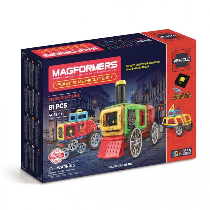 Конструктор Magformers Магнитный Power Vehicle SetМагнитный Power Vehicle SetМагнитный конструктор Magformers Power Vehicle Set  В нем Вы найдете самую обширную коллекцию различных видов колес Магформерс: гусеницы, большие колеса, паровозные колеса, разнообразные поршни и коннекторы, и, конечно же, моторный блок, чтобы все это вертелось и двигалось.   Управлять машинами можно с помощью пульта ДУ.  В наборе 81 элемент — магнитные детали Магформерс и различные аксессуары. С их помощью Вы соберете любое транспортное средство, от паровоза и тяжелого грузовика до гоночного автомобиля. А с помощью моторного блока и пульта ДУ их можно будет запустить наперегонки!<br>
