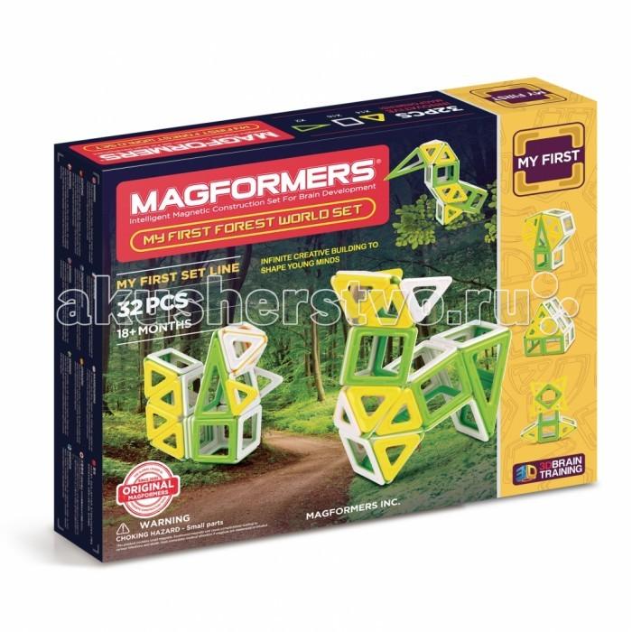 Конструктор Magformers Магнитный My First Forest 32 setМагнитный My First Forest 32 setМагнитный конструктор Magformers My First Forest 32 set посвящен лесу. В его состав входят квадраты, треугольники и равнобедренные треугольники приятных, естественных цветов — белого, желтого и травянисто-зеленого. Из них можно собрать множество различных обитателей леса, построть дерево и лесную хижину.  В комплект также входит красочно иллюстрированная Книга Идей с подробными схемами сборки лесных обитателей - зайчика, олененка, сову, дятла, лисичку, а можно включить воображение и придумать собственного зверька. Набор станет отличным подарком для юного натуралиста!  Набор содержит 32 элемента: - треугольник: 14 шт. - квадрат: 16 шт. - равнобедренный треугольник: 2 шт.<br>