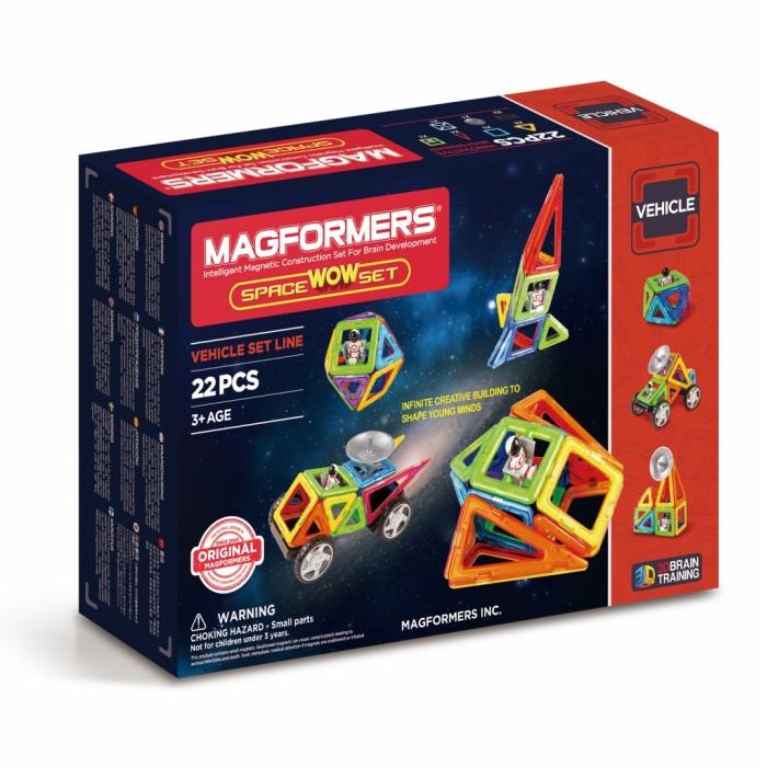 Конструктор Magformers Магнитный Space Wow SetМагнитный Space Wow SetМагнитный конструктор Magformers Space Wow Set  Всеми любимый набор Magformers Wow стал еще более потрясающим! Space Wow Set придется по душе мечтателям о звездных далях, ведь новая версия посвящена космической тематике.   В наборе представлены особенные элементы: - Фигурка космонавта, которая поможет исследовать далекие миры. - Антенна, которая добавит космическим кораблям и луноходам реалистичности. - Обучающие карточки, которые познакомят с принципом конструирования Магформерс.  С новыми и базовыми элементами набора ребенок сможет сконструировать разнообразные космические аппараты, орбитальные спутники и ракеты, на которых отважный космонавт отправится покорять неизведанные планеты.  В набор тематические карточки. На самых больших из них наглядно демонстрируется принцип конструирования Магформерс - трансформация плоских фигур в объемные. На других карточках - множество идей по постройке космических моделей для всех возрастов - от самых маленьких покорителей космоса до опытных космонавтов.  Смело исследуйте загадочные космические просторы с Magformers Space Wow Set!  Набор содержит 22 элемента: - треугольник: 8 шт. - равнобедренный треугольник: 4 шт. - квадрат: 5 шт. - астронавт: 1 шт. - клик-колес: 2 шт. - новый вращающийся блок: 1 шт. - антенна: 1 шт.<br>
