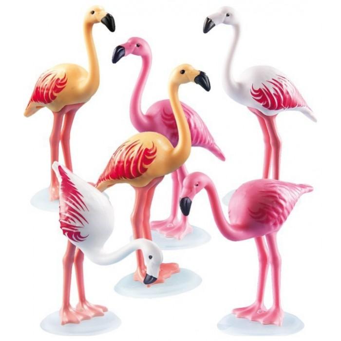 Конструктор Playmobil Зоопарк: Стая ФламингоЗоопарк: Стая ФламингоPlaymobil Зоопарк: Стая Фламинго обязательно заинтересует деток от 4 лет. Он выполнен в виде шести фламинго трех разных оттенков. Фигурки можно поместить в емкость с водой или перемещать по игровому пространству. Элементы набора изготовлены из высококачественной пластмассы и окрашены в цвета, соответствующие окрасу реальных животных. Конструктор Стая Фламинго можно комбинировать с другими наборами из этой серии и собрать целый зоопарк у себя дома. Ребенок будет придумывать различные сюжетные линии и увлекательные истории. Порадуйте его таким замечательным подарком.  Дополнительно: Количество элементов: 6 Длина большой фигурки: 7.5 см Размер упаковки: 17 x 11.9 x 4.1 см Вес: 30 г  В комплекте: 6 фигурок фламинго<br>