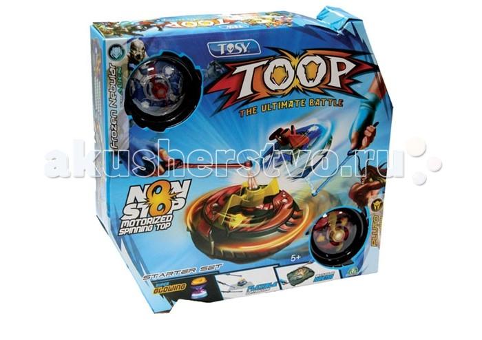 Каррас Игровой набор Toop Starter Set T-02001Игровой набор Toop Starter Set T-02001Toop Starter Set (Два боевых волчка Марс и Торнадо, два контроллера, арена)  Самый современный механизированный волчок (на батарейках). Он занесён в книгу рекордов Гиннеса как самый долго вращающийся волчок. Не требует подзавода, может вращаться несколько часов непрерывно. При этом ярко светится цветными огоньками (особенно в темноте).   Движением волчка можно управлять с помощью специального контроллера - складной палочки с магнитом на конце. Игрушка подходит для маленьких детей - его можно ставить на ладонь, подбрасывать в воздух, строить пирамидку из нескольких волчков.   Дети постарше и взрослые могут использовать набор TOOP Starter Set (Два боевых волчка Марс и Торнадо, два контроллера, арена) для жонглирования и выполнения других трюков, а также устраивать поединки на боевой арене (захватывающая игра, напоминающая аэрокхоккей).<br>