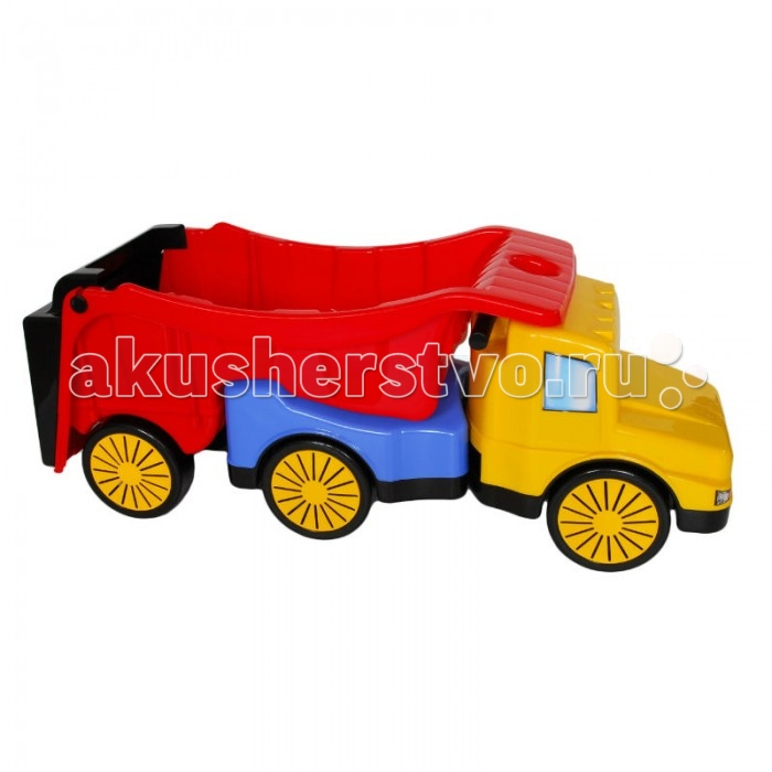Каталка-игрушка Karolina Toys Детский автомобиль ГигантДетский автомобиль ГигантДетский автомобиль-каталка Гигант для игры дома или в песочнице. У каталки большие колеса и вместительный кузов, который можно поднимать и опускать, засыпать в него песок, а также катать любимые игрушки и зверюшек, строительные материалы, своего любимого кота или собаку, или даже друга.  Размер игрушки: 980-1240х340х390 мм<br>