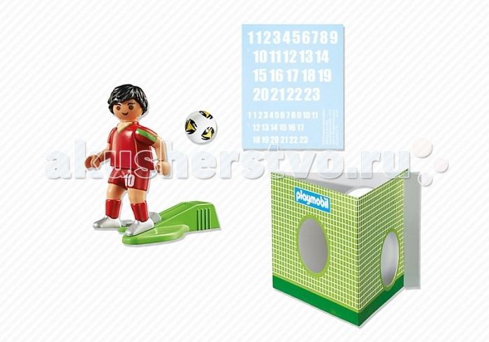 Конструктор Playmobil Футбол: Игрок сборной ПортугалииФутбол: Игрок сборной ПортугалииPlaymobil Футбол: Игрок сборной Англии  В комплекте:  1 фигурка человечка ворота мяч наклейки<br>