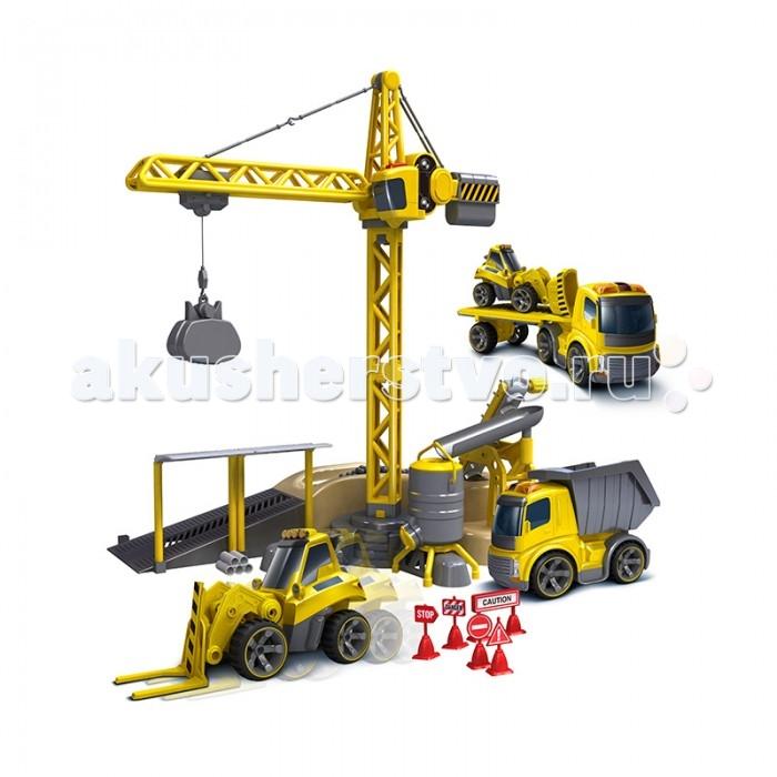 Конструктор Playmobil Набор Мега стройка на радиоуправленииНабор Мега стройка на радиоуправленииSilverlit Набор Мега стройка на радиоуправлении  Кран вращается и двигается. В набор входит универсальный пульт для управления траком, бульдозером и грузовиком<br>