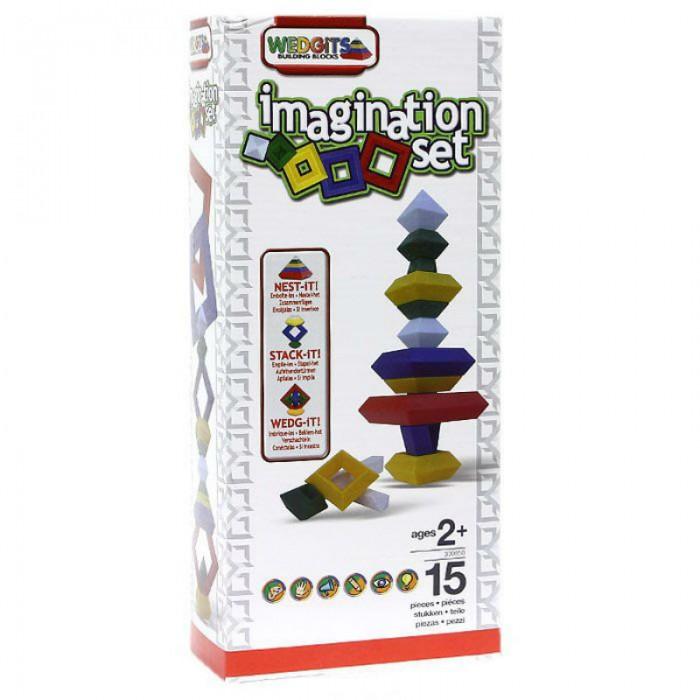 Конструктор Wedgits Imagination Set 15 деталейImagination Set 15 деталейКонструктор Imagination Set  включает немного деталей — всего 15 разноцветных элементов. Зато каждая деталька отличается особенной формой, несвойственной для других конструкторов. Например, в комплекте есть ромбы, октаэдры и палочки. Такой набор подходит для детей от 2 лет. Конструктор можно использовать в качестве усовершенствованной версии самой обычной пирамидки. В процессе игры развиваются творческие способности, координация движений, пространственное мышление.  Конструктор состоит из:  Ромб - 1 красный (12.5х12.5см), 2 синих (10х10см), 3 желтых (7.5х7.5см), 4 зеленых (5х5см) Кристалл (октаэдр) - 2 больших (5х7см) Палочки - 1 короткая (12.5х3см), 1 длинная (15х3см), 1 угловая (10х10см) Буклет с моделями для сборки.<br>
