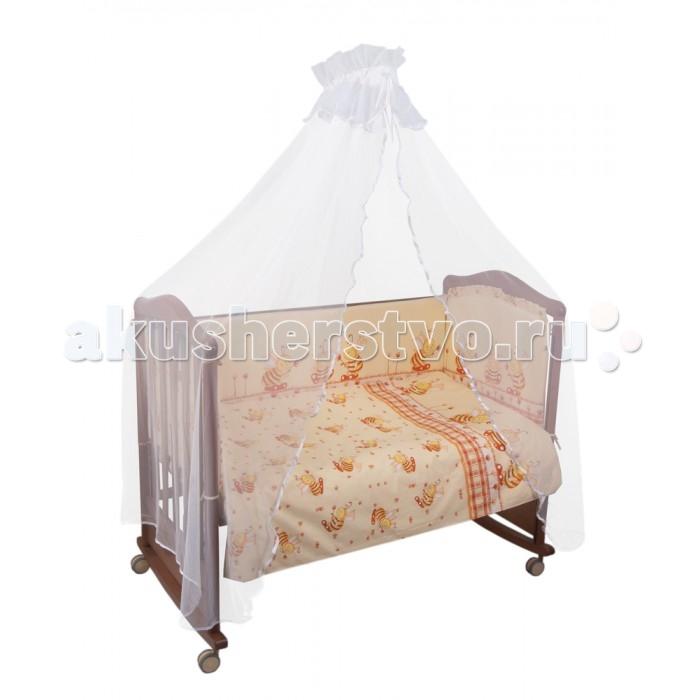 Комплект для кроватки Сонный гномик Пчелки (4 предмета)Пчелки (4 предмета)Постельное белье Сонный гномик Пчелки из 4-х предметов.    Особенности  из самого нежного 100% хлопка   деликатные швы, которые рассчитаны на прикосновение к нежной коже ребёнка  белье полностью безопасное и гипоаллергенное.   В комплекте:   наволочка (40х60 см)  простынь не на резинке (100х140 см)  пододеяльник (110х140 см)  борт из 4 частей (360х38 см)<br>
