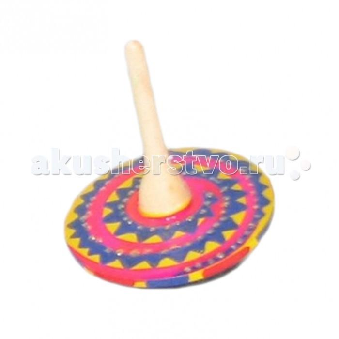 Деревянная игрушка Русская народная игрушка (РНИ) Волчок маленький с блестками